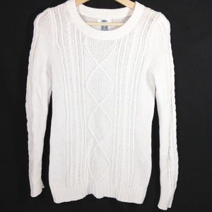 Cable Knit Sweater White Size X Small